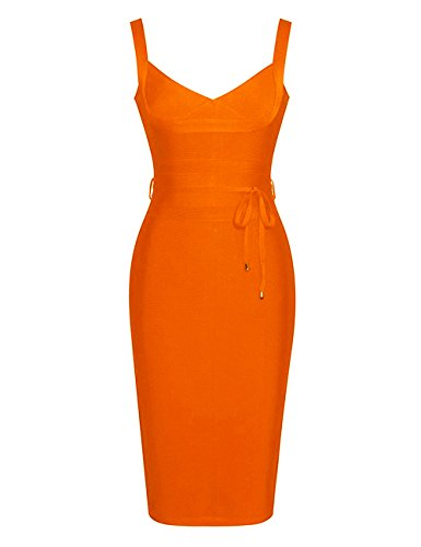 UONBOX Women's Strap V Neck Tie Waist Knee Length Bodycon Pencil Bandage Club Dress (L, Orange)