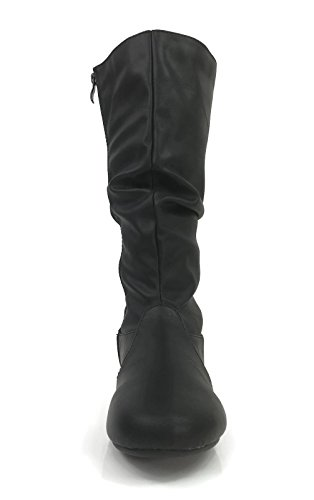 Wells Collection Womens Wonda Stiefel Weiche Slouchy Flat bis Low Heel unter Knee High Schwarz-24