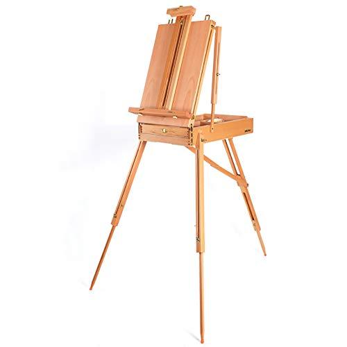 イーゼル 木製のアーティストの三脚のディスプレイイーゼルの木のスケッチ絵画のスタンドイーゼルポータブル油絵のツールボックス (色 : 木の色)