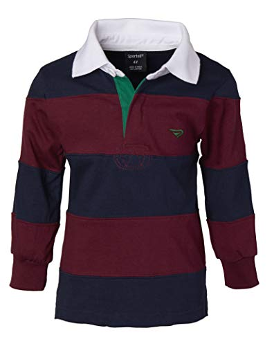 4068a14894a7 Sportoli Big Boys 100% Cotton Wide Striped Long Sleeve Polo Rugby Shirt -  Burgundy (