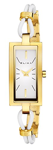 Elixa E097-L379 Womens Watch Gold-Tone Rectangular Case Leather/Steel ()