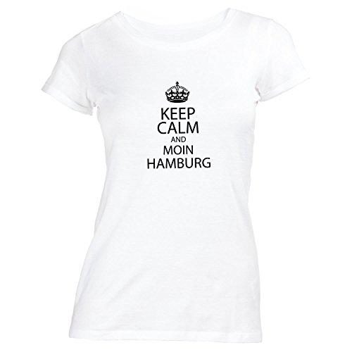 Damen T-Shirt - Keep Calm and Moin Hamburg - Heimatstadt Hafen Elbe St. Pauli Weiß 48qK5