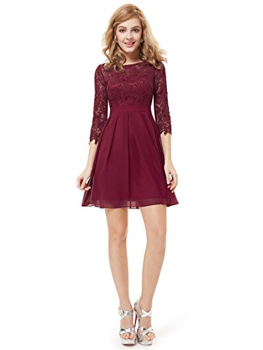 Ever Pretty 3/4 Sleeve Lace Kurz Rot Party Kleid 05075 Gr. 16, Rot - Rot