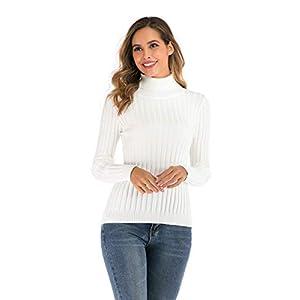Enjoyoself Pull Femme Col Roulé Tricot Hiver Chaud Thermal Chic Ajusté Moderne Serré Col Montant Confortable sous-Pull…