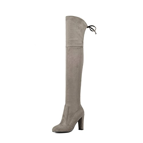 (Dormery Women Over The Knee Boots Sexy PU Leather Square High Heel Women Shoes Winter Warm Motorcycle Boots Size 34-43 Khaki 10)