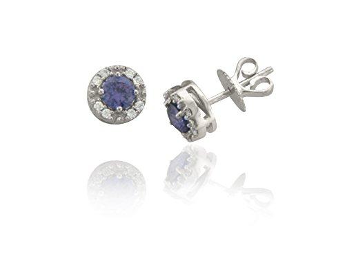Libertini Boucle d'oreille argent 925 serti de Diamant et Saphir en fArgentme de Rond