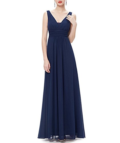TOPFANS Double V-Neck Ruched Waist Ladies Long Evening Dress Navy Blue4 Morden - Angels Dress Hire
