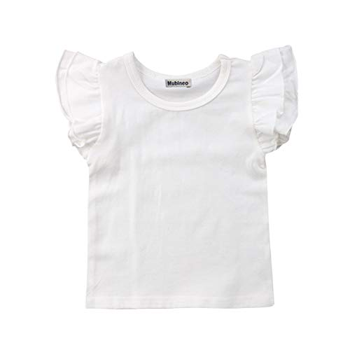 (Mubineo Toddler Baby Girl Basic Plain Ruffle Sleeve Cotton T Shirts Tops Tee Clothes (White, 4-5T))