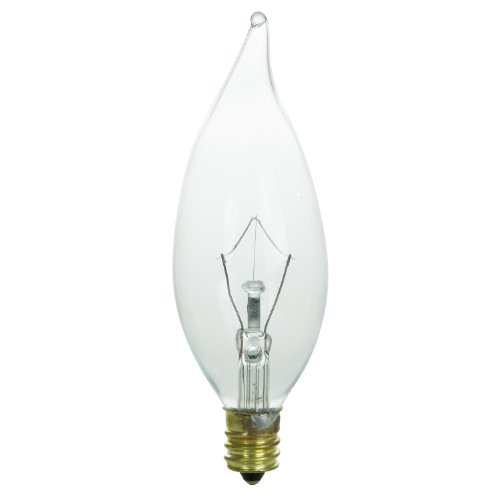Sunlite 15CFC/25/CD2 Incandescent 15-Watt, Candelabra Based, Petite Chandelier Bulb, Flame Tip, Clear, Carded (Clear Incandescent Carded Light Bulb)