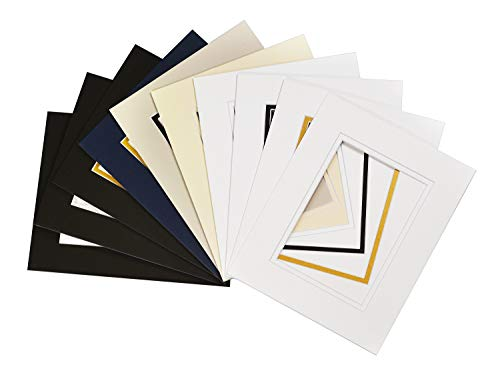 Golden State Art, Pack of 10, Mix Colors 8x10 Picture Double Mat for 5x7 Photo with White Core Bevel Cut Frame Mattes Double Pre Cut Mat
