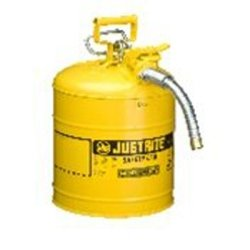 Yellow Metal Safety Can, Type ll AccuFlow, 5 Gallon, with 5/8'''' x 9'''' Flexible Metal Hose, for Diesel Tools Equipment Hand Tools by Justrite (Image #1)