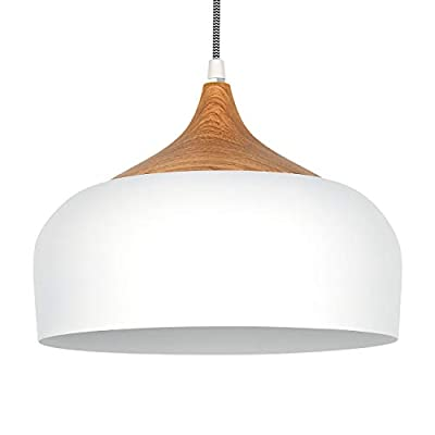 tomons Pendant Light Modern Lantern Lighting with LED Bulb, Wood Pattern Dome Simple Style Ceiling Hanging Lamp for Kitchen, Dining Room, Living Room, Coffee Bar - White