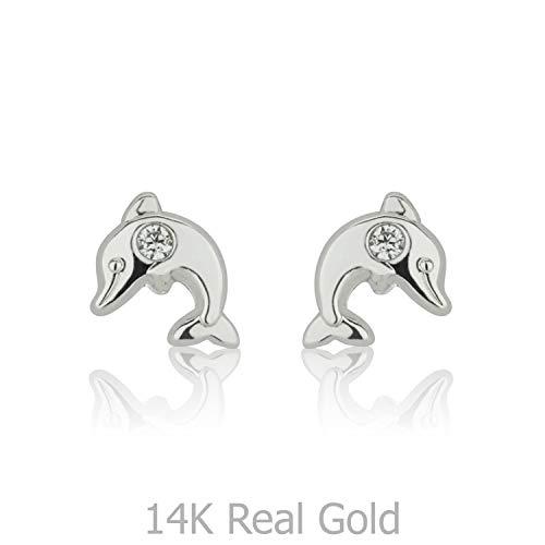 (14K Fine White Gold Cubic Zirconia Dolphin Screw Back Stud Earrings for Girls Kids Gift Children)