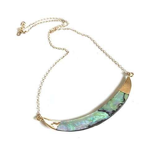 Abalone Necklace | Bar Necklace | Abalone Jewelry | Choker Collar | Abalone Pendant | Bohemian Jewelry | Gemstone Necklace | Natural Stone
