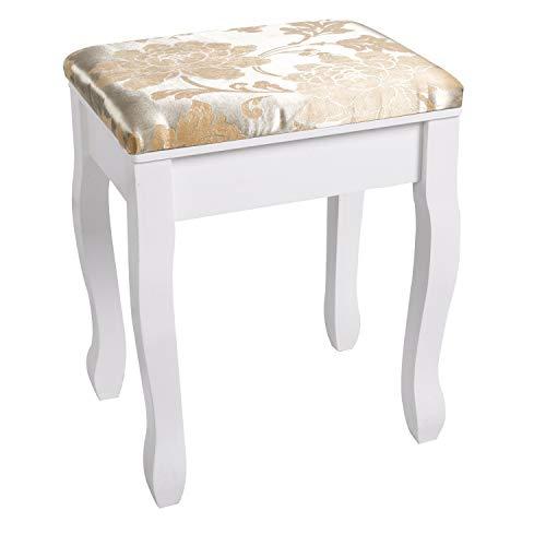 CCLIFE Taburete silla para tocadores dorado tocador silla 40/30/50 cm, Color:Blanco