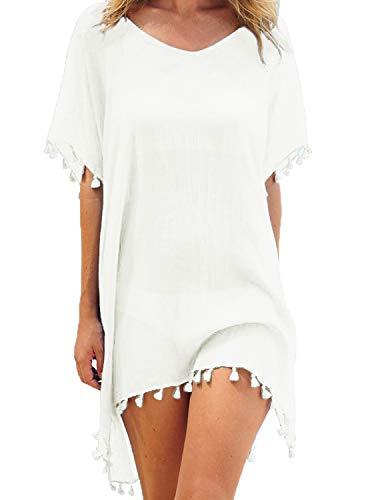 Adreamly Women's Stylish Chiffon Tassel Kaftan Swimsuit Beachwear Cover Up Free Size White