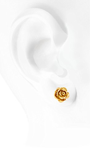 Solid-14K-Yellow-Gold-Rose-Flower-Stud-Earrings-Handcrafted-style-10mm-with-Post-and-Friction-Back-2g