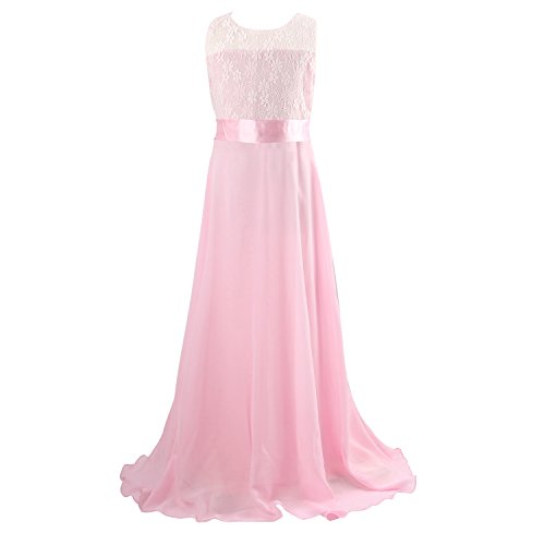 Floor Length Dress, Acecharming Big Girls Lace Chiffon Dress Wedding Bridesmaid Dress Dance Party Gown Maxi Girl Long Dress Pink Size 12(Suitable for 11-12 Years)