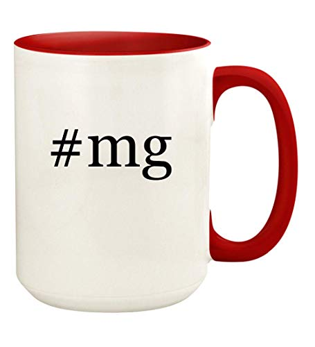 #mg - 15oz Hashtag Ceramic Colored Handle and Inside Coffee Mug Cup, Red