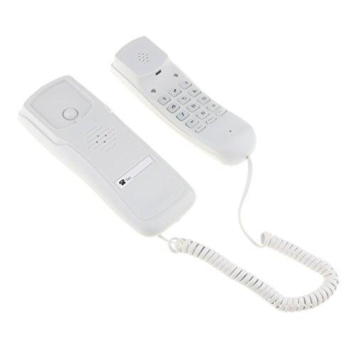 MagiDeal Small Mini Landline Hanging Wired Telephone Wall Home Phone White - Mini Corded Telephone