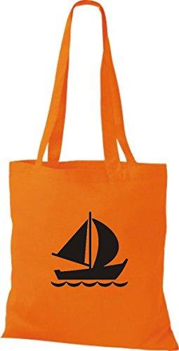 skipper Di Barca Shirtstown capitano Arancione Vela Borsa Jolle Stoffa Juta qW07a