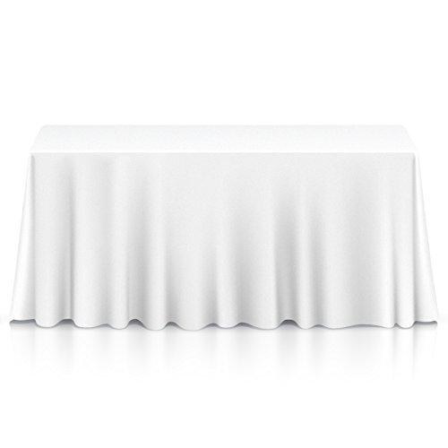 "Lanns Linens - 10 Premium 90"" x 156"" Tablecloths for Wedding/Banquet/Restaurant - Rectangular Polyester Fabric Table Cloths - White"