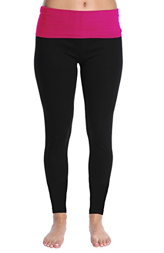 Nouveau Women's Active Full Length Yoga Pant with Contrasting Color Waistband - Hot Pink Pop, Medium ()