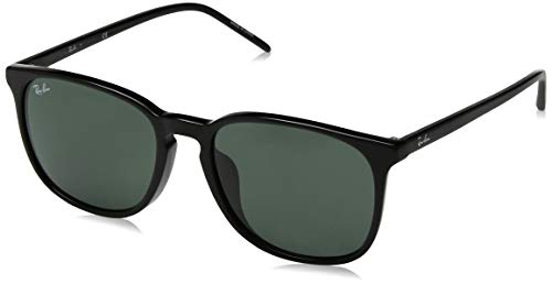 Ray-Ban Men's RB4387F Round Asian Fit Sunglasses, Black/Green, 55 ()