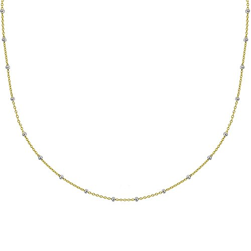 Ritastephens 14k Yellow White Gold Two Tone Saturn Beaded Station Chain Necklace 18 Inches