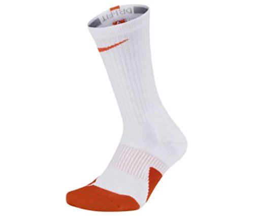 Nike Elite 1.5 Basketball Crew Socks Small (Fits Women 4-6, Youth 3-5Y) White, Orange