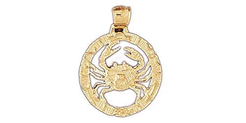 14k Yellow Gold Zodiac - Cancer Pendant 14k Gold Cancer Crab