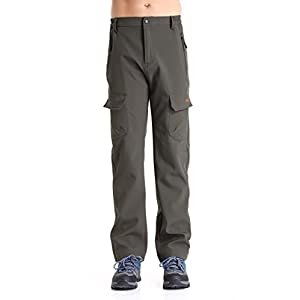 Men's Insulated Fleece-Lined Soft-Shell Pants - Water-Repellent, Wind-Resistant