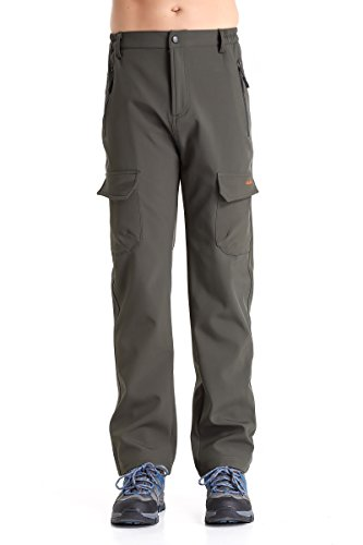 Men's Fleece-Lined Ski Cargo Pants - Warm, Breathable, Water and Wind-Resistant