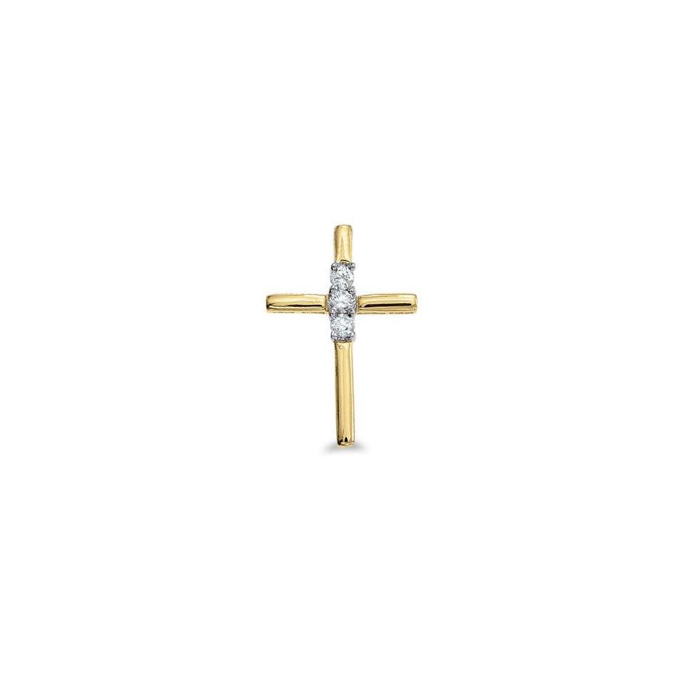 14K Yellow Gold Diamond Cross Pendant with 18 Chain