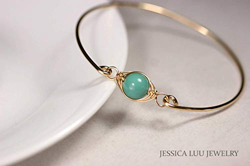 Gold Green Pearl Bangle Bracelet with Jade Swarovski Pearl Wire Wrapped Yellow or Rose Gold Filled