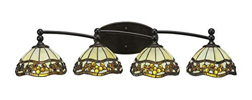 Toltec Lighting Capri 4 Light Bath Bar Roman Jewel Tiffany Glass