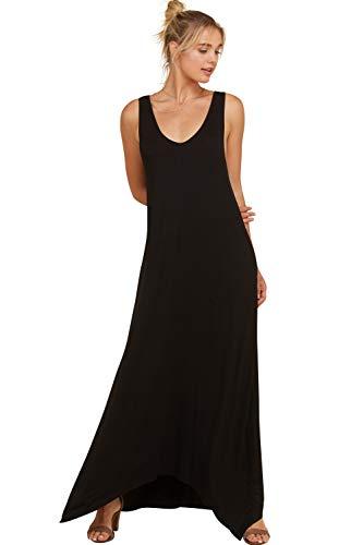 Black Uneven Hem Dress - Annabelle Women's Scoop Neck Pocketed Uneven Hem Solid Maxi Dress Black Medium D5291K