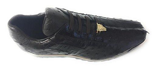 Studio Belvedere Uomo Forte In Pelle Marrone Nicotina Struzzo Caimano Abito Sneaker