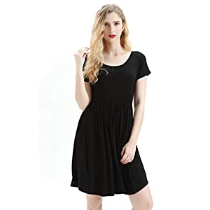 42e17d6f7061 Summer Dresses for Women,T Shirt Short Sleeve Midi Casual Dresses for Women  with Pockets ...