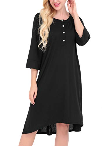 FISOUL Women's Round Neck High Low Loose Casual T-Shirt Top Dress (Black,L) by FISOUL