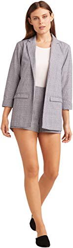 - cupcakes and cashmere Women's Wheeler Linen Plaid Boyfriend Blazer, Ink Large