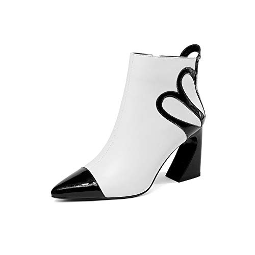pour Talon Plat Femme White Bottines Pointu à Bout à zZApCwqY