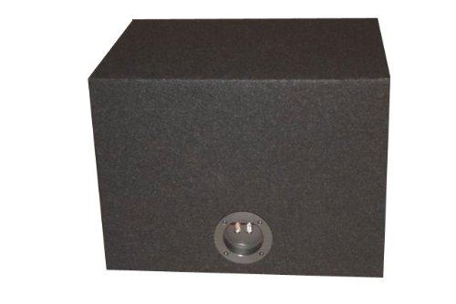 R/T - BLACK Single 12'' Slot Vented Sub Bass Hatchback Speaker Box with Labyrinth Power Port (MDF)