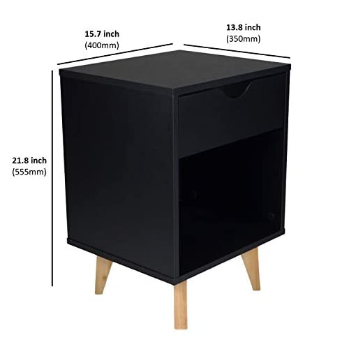 Bedroom Mid Century Modern Nightstand – Bedside Table Night Stand – Premium Quality MDP Wood – Available in Black, White… modern bedroom furniture