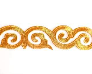 Embroidered Gold Swirl Trim By Shine Trim