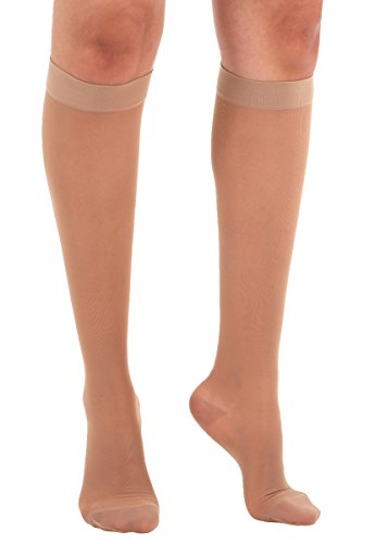 Moderate Support Pantyhose - Made in The USA - Absolute Support 2XL Wide Calf Compression Stockings -Sheer Wide Calf Knee High, 15-20 mmHg- Graduated Compression Hose for Women -Beige, XXL, SKU: A101BE5