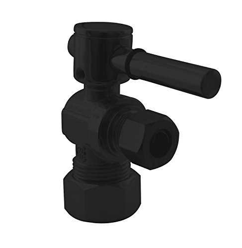 Compression Outlet Round Handle - Westbrass R105BL-62 Angle Stop, 5/8 in. OD x 3/8 in. OD-1/4-Turn Lever Handle, Matte Black