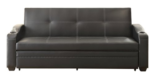 Homelegance 4838 Convertible/Adjustable Sofa Bed, Black Bi-Cast Vinyl - Black Vinyl Futon Sofa
