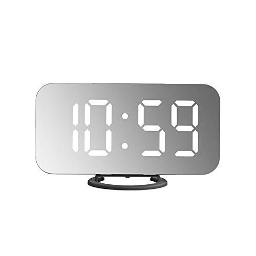 Yao Espejo LED Reloj Despertador Reloj de Mesa Digital Posponer ...