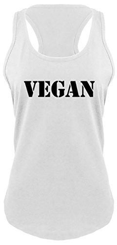 Eating Tasty People Animals (Ladies Racerback Tank Vegan Animal Lover PETA Shirt White XS)